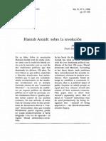Albrecht Wellmer. Hannah Arendt. Sobre La Revolucion. Areté Revista de Filosofía. Vol X Nº 1. 1998
