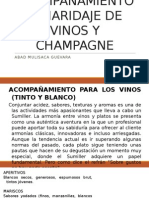 Acompañamiento o Maridaje de Vinos y Champagne