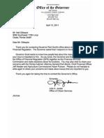 Gov. Rick Scott Reply April 13, 2011 to Neil Gillespie