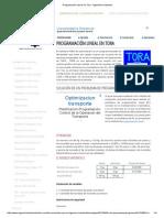 Programación Lineal en Tora - Ingeniería Industrial