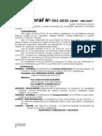 Resoluciones Directorales Esfap 2010 Nº 01 .......,Arsenio