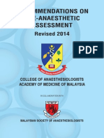 CPG Recommendations on Pre-Anaesthetic Assessment