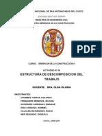 ESTRUCTURA DE DESCOMPOSICION DEL TRABAJO