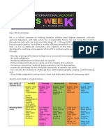 arts week schedule