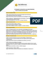 Agenda de Actividades Destacadas. Del 12 al 28 de junio de 2015