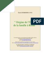 Émile Durkheim - Origine de l'État Et de La Famille à Rome (1910)