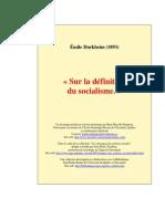 Émile Durkheim - Sur La Définition Du Socialisme (1893)