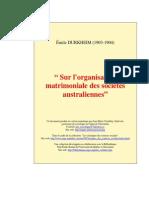 Émile Durkheim - Sur l'Organisation Matrimoniale Des Sociétés Australiennes (1903-1904)
