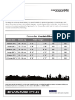 Cannondale Mountain Bike Sizing Chart
