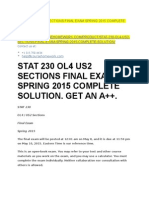 Stat 230 Ol4 Us2 Sections Final Exam Spring 2015 Complete Solution
