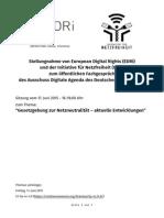 Stellungnahme Netzneutralität Bundestag 2015