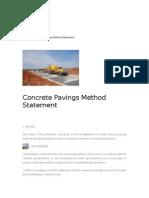 Concrete Pavings Method Statement