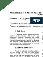 Quantificação de Metais Em Algas de Fernando de Noronha Como Bioindicadores No Monitoramento de Poluição