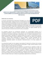 Bases de envio para la presentación de trabajos a la Revista Latinoamericana Panoramas Psicologicos