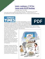 Political Uncertainty Continues; UNP for Dissolution, Sirisena Seeks SLFP Backing