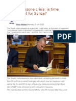 Greek Eurozone Crisis is Time Running Out for Syriza