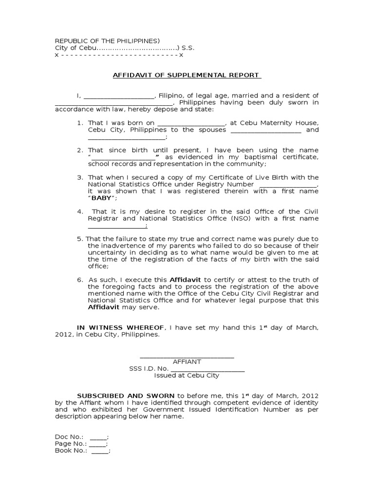 Affidavit of supplemental report yadclub Images