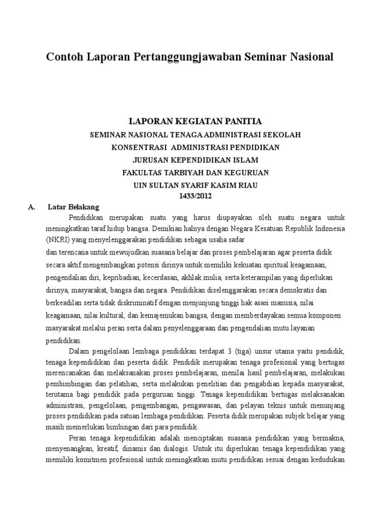 Contoh Laporan Pertanggungjawaban Seminar Nasional