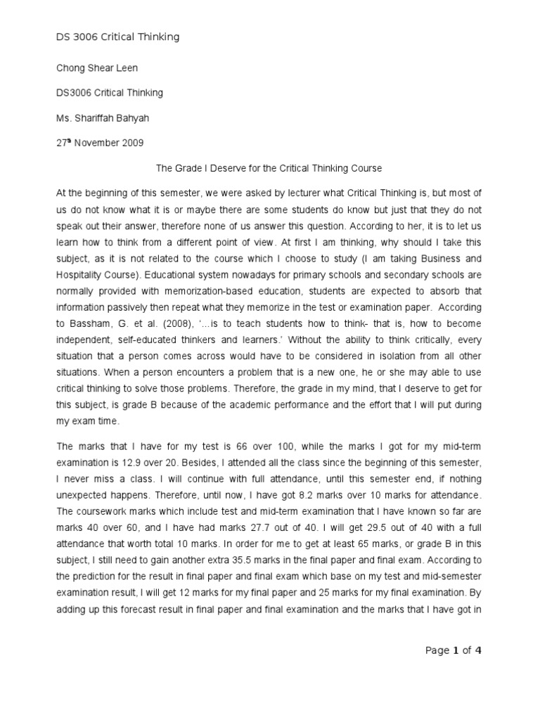 Example of critical thinking essay