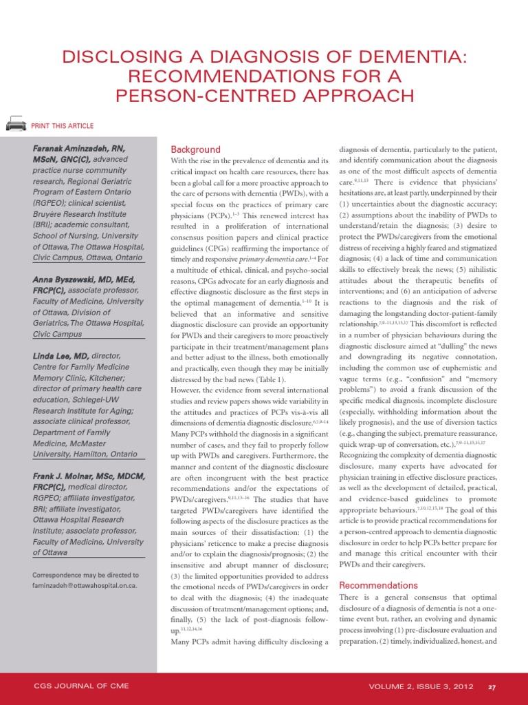 Disclosing a Diagnosis of Dementia.pdf | Caregiver | Dementia