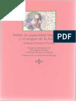 Fichte - Sobre La Capacidad Linguistica y El Origen de La Lengua Tecnos