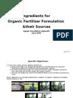 Organic Fertilizer Formulation & Sources