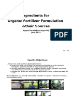 Organic Fertilizer Formulation & Sources