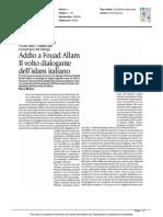 Addio a Fouad Allam, il volto dialogante dell'Islam italiano - L'Avvenire dell'11 giugno 2015