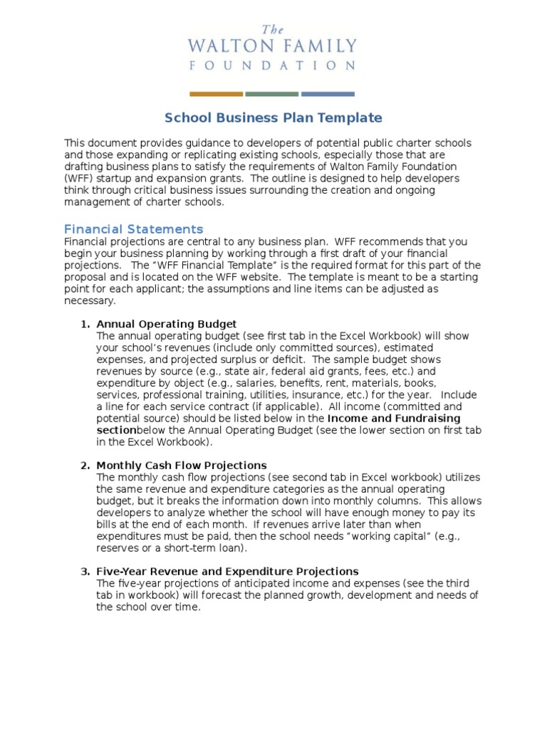 primary school business plan pdf