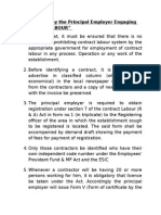 Do's & Don'Ts by Principal Employer- Engaging Contract Labour