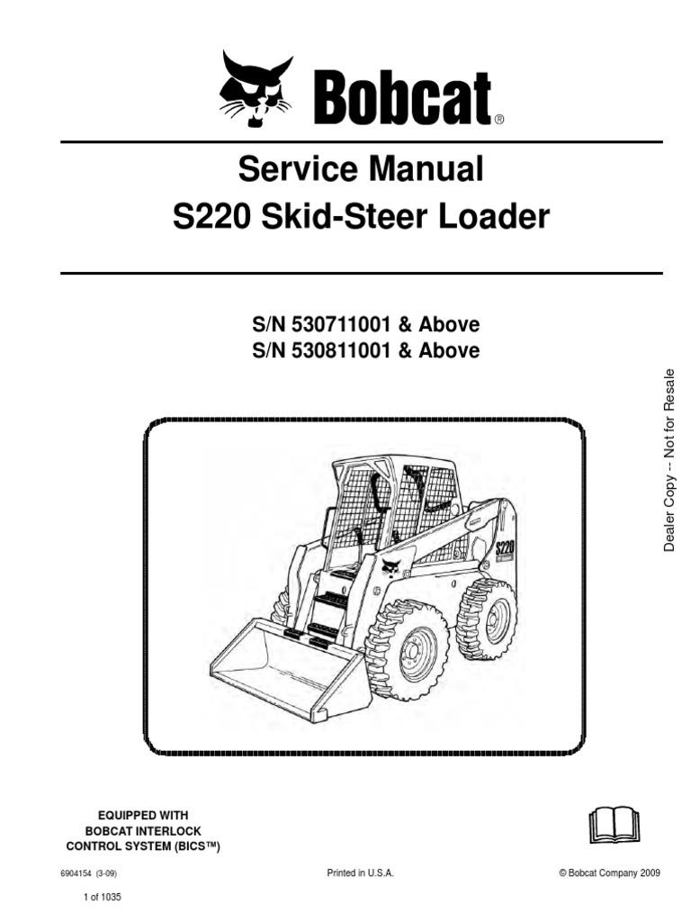 Service Manual Bobcat s220 530711001 | Elevator | Switch