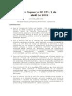 Decreto Supremo Nº 071 Creación de Autoridades de Fiscalización y Control Social. Bolivia