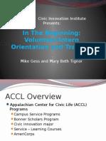 volunteer-intern orientation and training