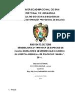 """sensibilidad antifúngica de especies de Candida en mujeres gestantes que acuden al Hospital Regional de Ayacucho """"MAMLL""""? ,  2014."""