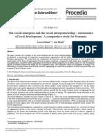 The Social Enterprise and the Social Entrepreneurship Instruments