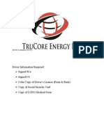 driver application (trucore energy llc)