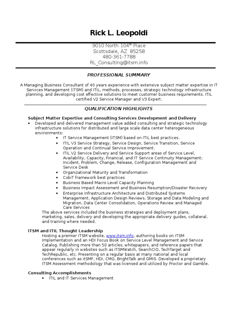 Itil consultant resume dissertation deutsch
