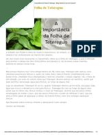 A Importância Da Folha de Teteregun - Blog Oficial Da Casa de Oxumarê