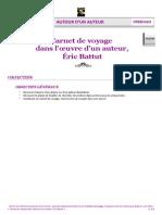 Carnet de voyage dans l'œuvre d'un auteur, Éric Battut