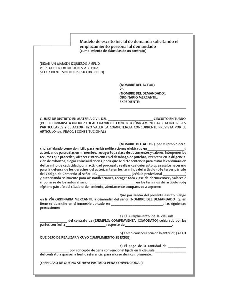 Modelo De Escrito Inicial Ord Mercantil Cumpl De Contrato