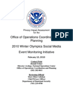"""Privacy Impact Assessment for the Office of Operations Coordination and Planning 2010 Winter Olympics Social Media Event Monitoring Initiative"""