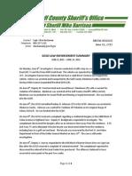 GCSO LAW ENFORCEMENT SUMMARY  JUNE 8, 2015 – JUNE 14, 2015
