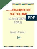 PredimensionamiePREDIEMCIONAMIENTO DE VIGASnto 2006 - Ing. Roberto Morales