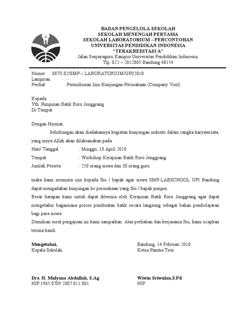 Surat Permohonan kunjungan