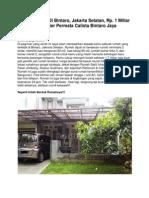 Rumah Dijual Di Bintaro, Jakarta Selatan, Rp. 1 Miliar an, 12330