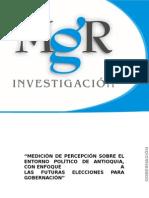 Encuesta MGR y DC Estrategia. Gobernación de Antioquia. Junio 2015.