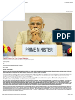 Open Letter to the Prime Minister