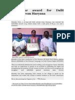 Ambedkar Award for Dalit Activist From Haryana