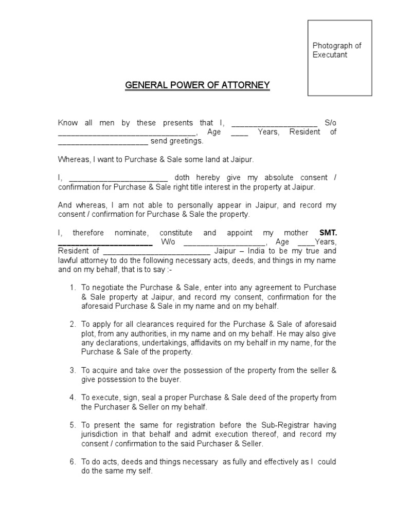 General power of attorney format for nri power of attorney deed falaconquin