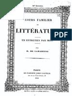 M.de Lamartine - Cours Familier de Littérature - Entretien 29